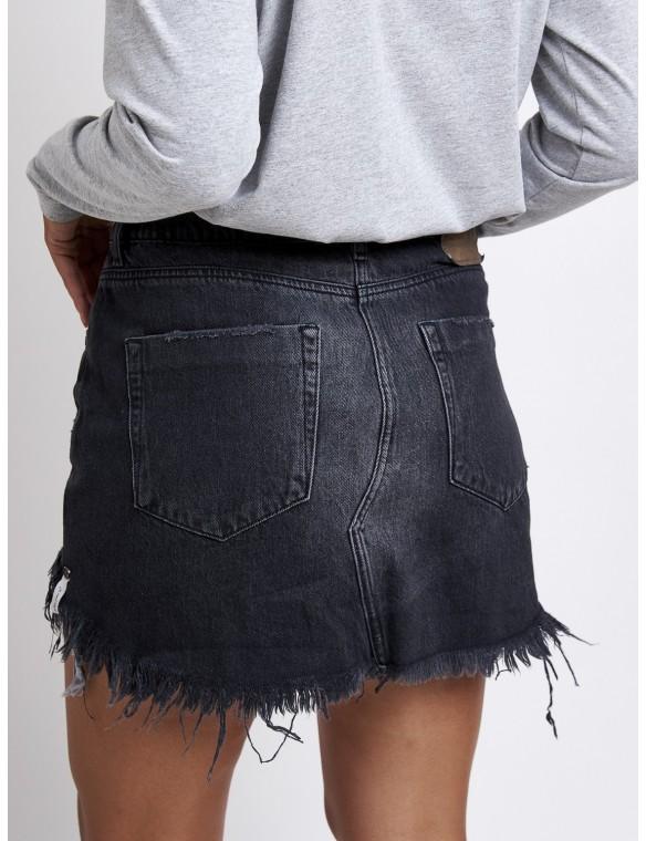 Flayed denim mini skirt