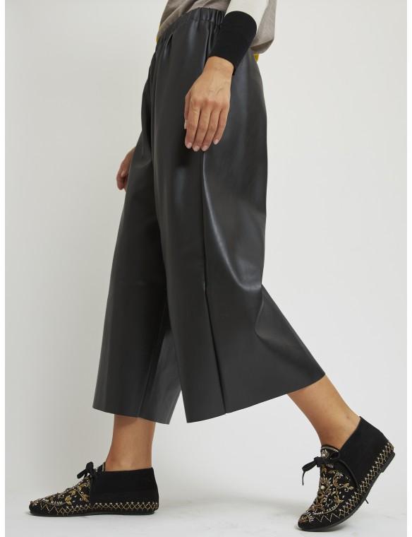 Faux leather culotte pants