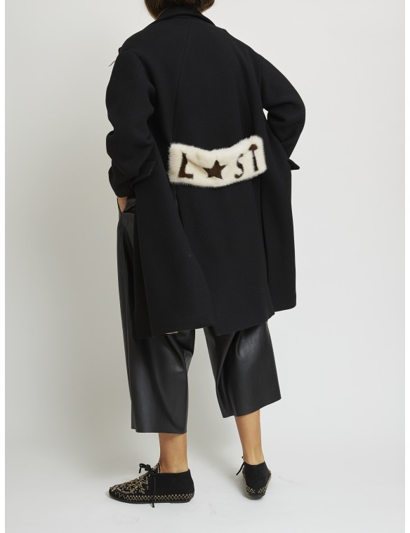 Wool coat with mink detail...