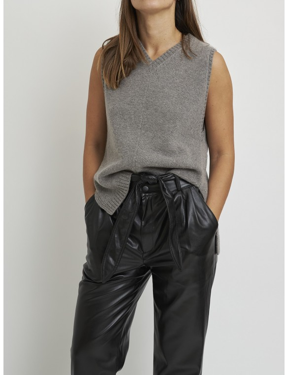 Asymmetric knit vest