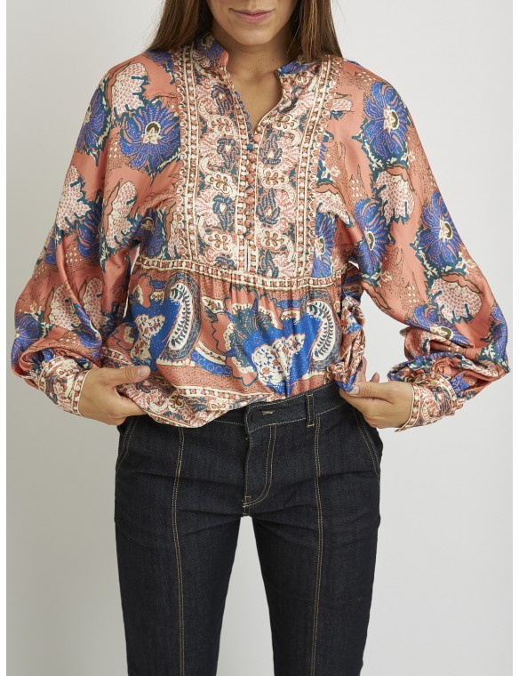 Buttons printed silk blouse