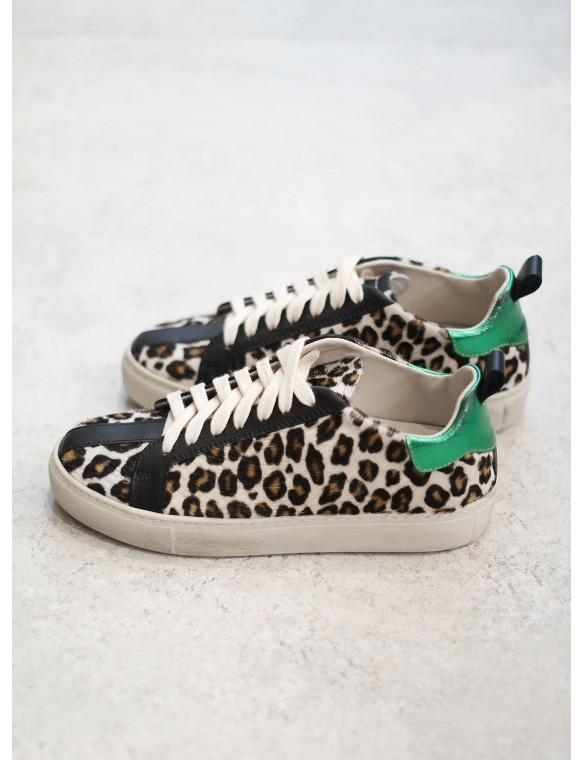Fur leopard print sneaker