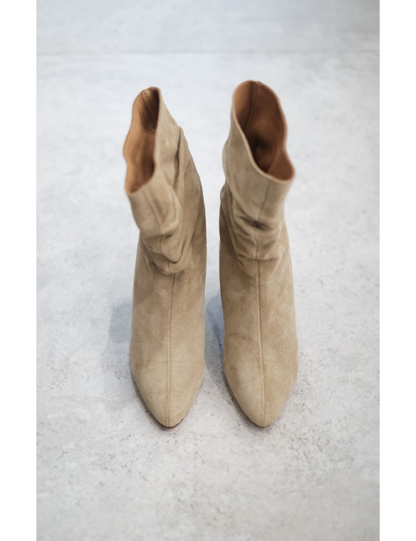 Gathered leather boot