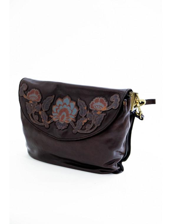Bolso piel bordado flores