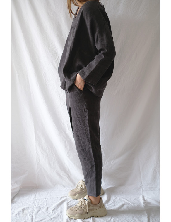 pantalón pinzas lino organico