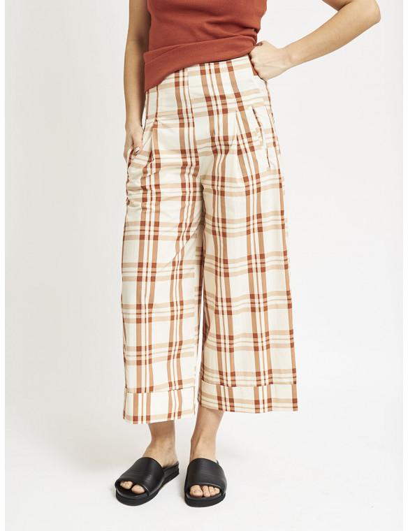 Pantalón popelin cuadros ancho