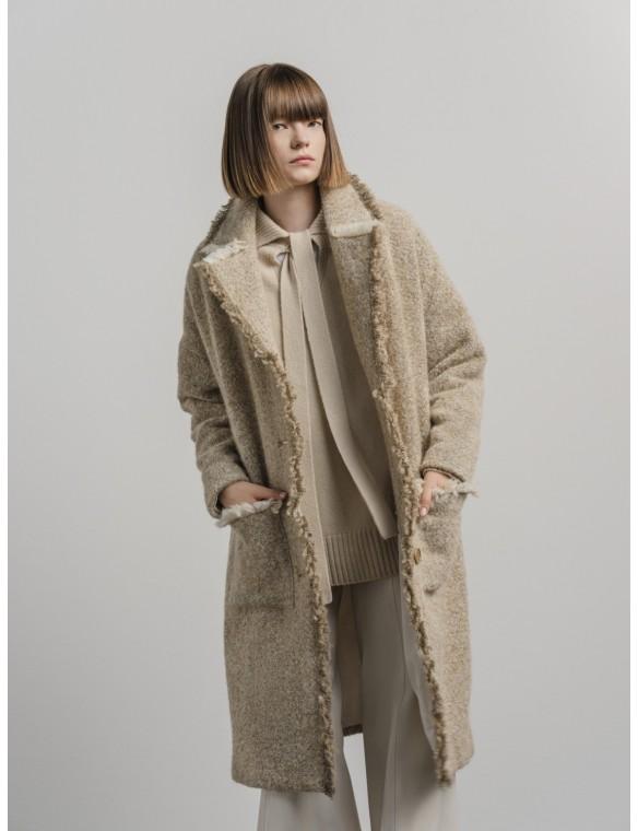 Deflected midi coat