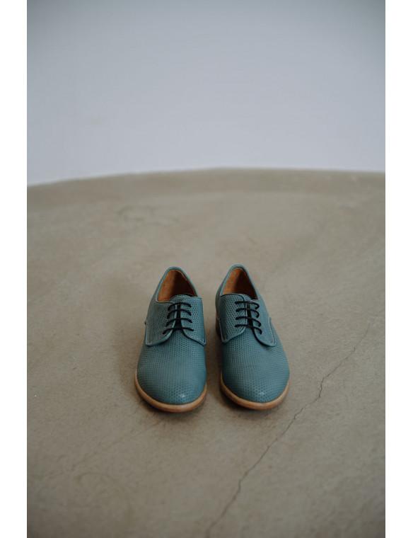 Zapato blucher piel troquelada