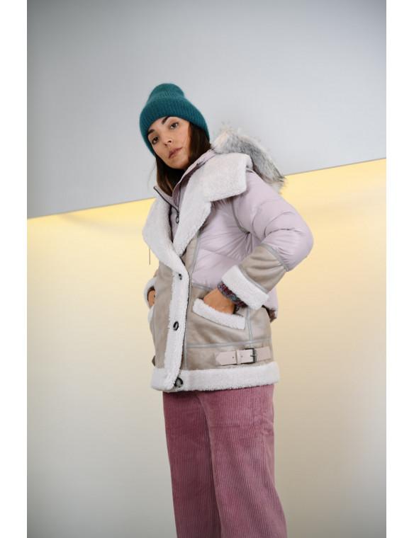 Abrigo acolchado capucha pelo