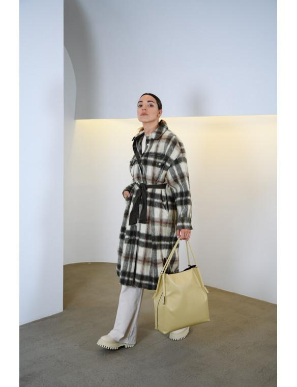 Abrigo cuadros lana